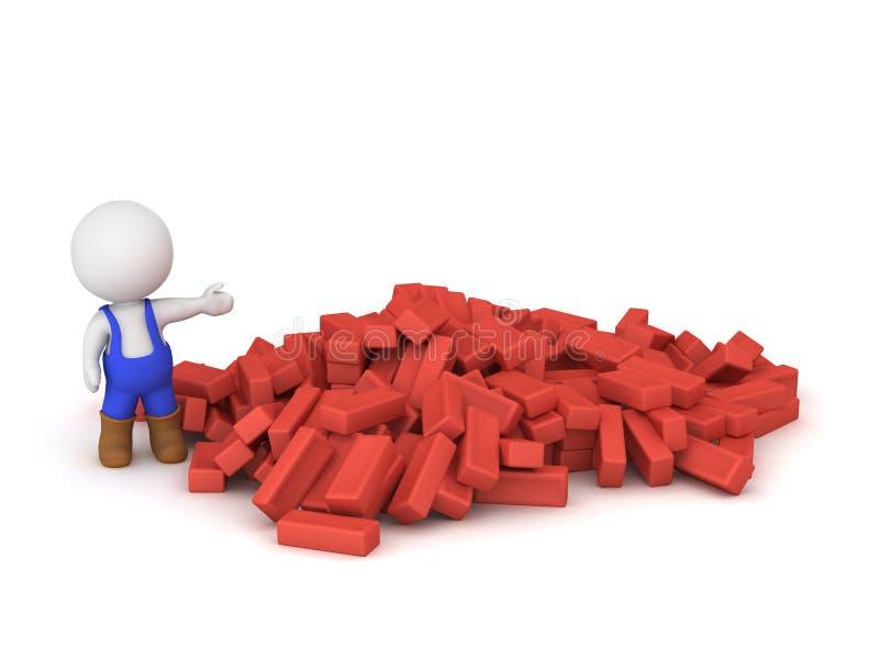 carattere 3D che porta gli in generale blu che mostrano mucchio dei mattoni rossi illustrazione di stock