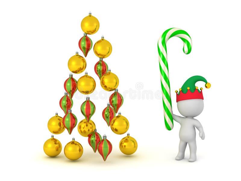 carattere 3D con il bastoncino di zucchero ed i globi decorativi di Natale illustrazione di stock