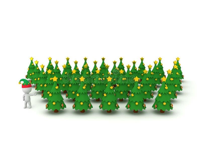 carattere 3D con il cappello di Elf che mostra molti alberi di Natale illustrazione di stock