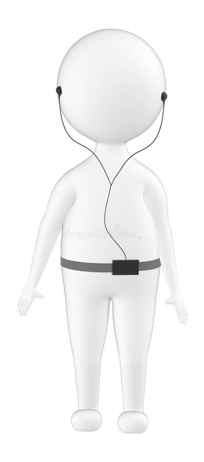 carattere 3d, trasduttore auricolare dell'uomo ed ascoltare illustrazione vettoriale