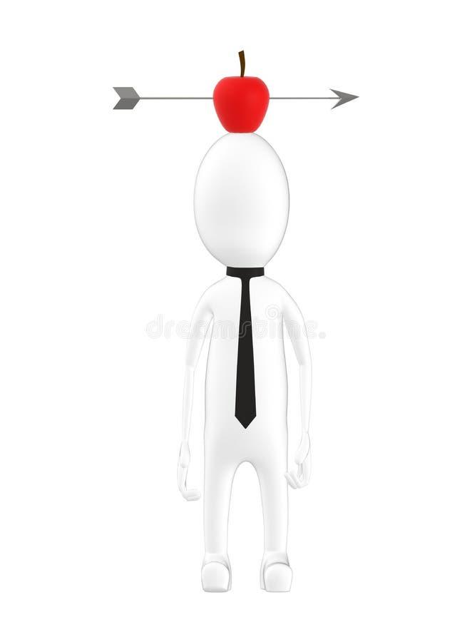carattere 3d, uomo e una mela con la freccia in sulla testa royalty illustrazione gratis