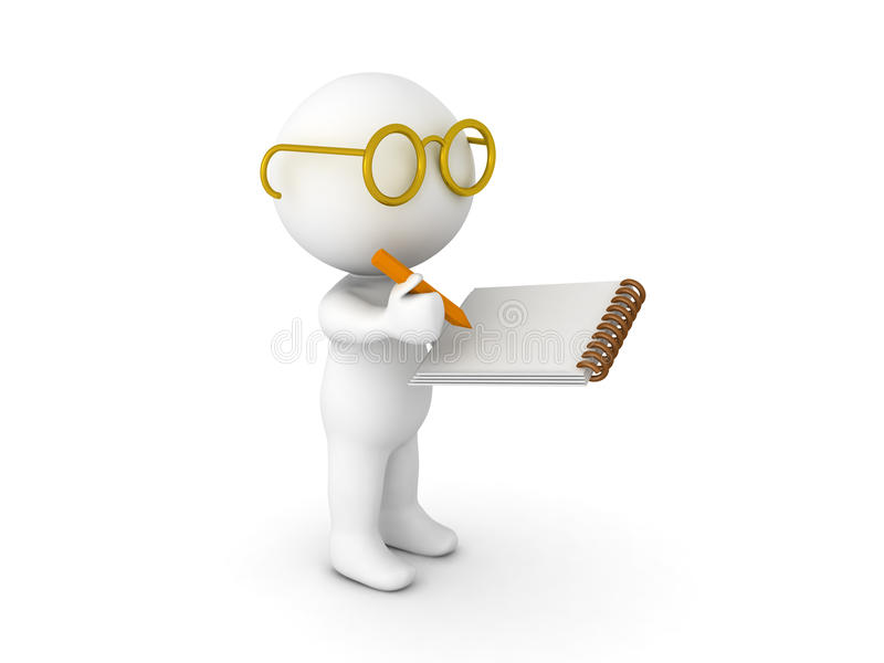 carattere 3D vestito come scrittura del ricercatore sul blocco note illustrazione vettoriale