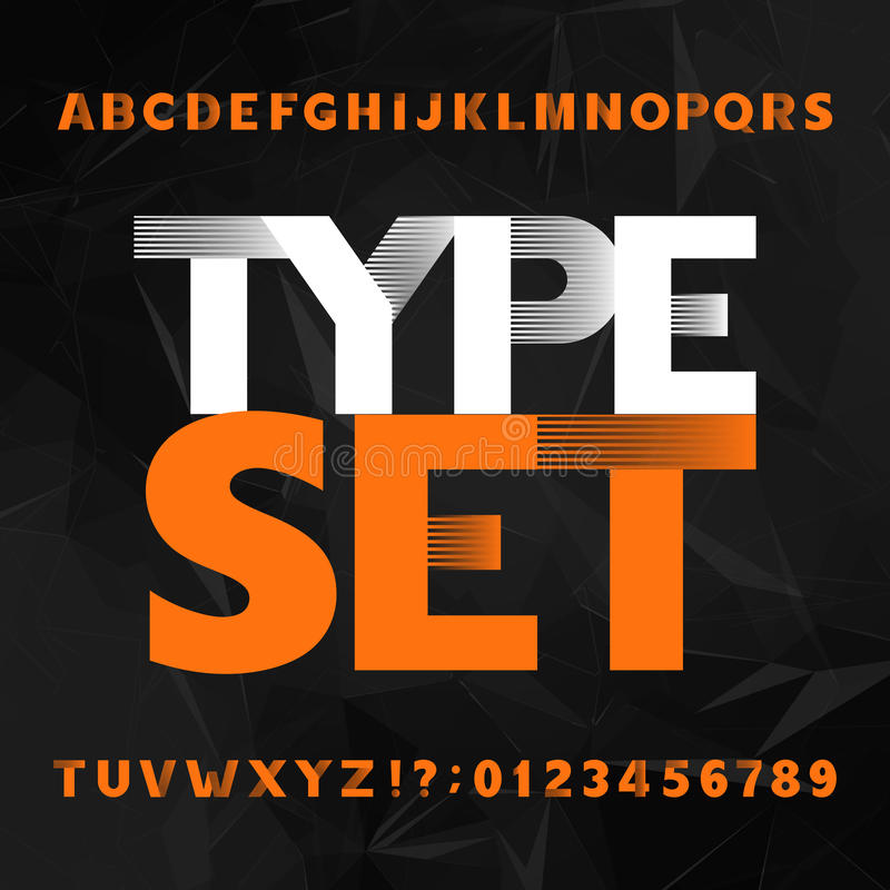 Carattere decorativo di alfabeto Grassetto lettere e numeri su un fondo poligonale illustrazione di stock