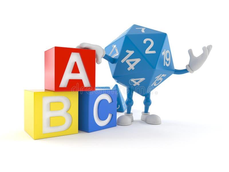 Carattere dei dadi di RPG con i blocchetti del giocattolo illustrazione di stock