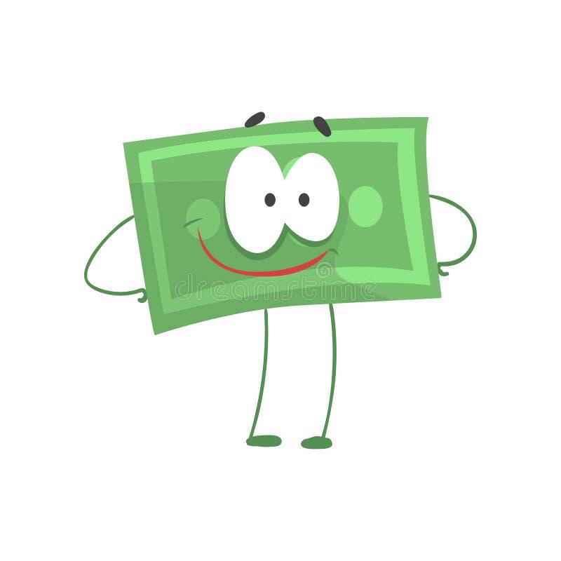 Carattere dei soldi del fumetto che sta con il fronte akimbo e sorridente di armi Dollaro verde sicuro di sé nello stile piano fi illustrazione di stock