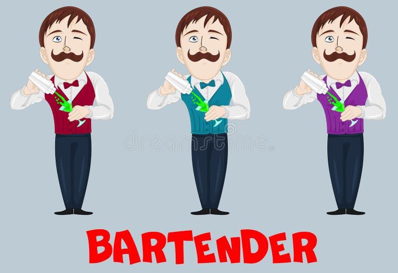 Carattere del barista sul lavoro illustrazione vettoriale