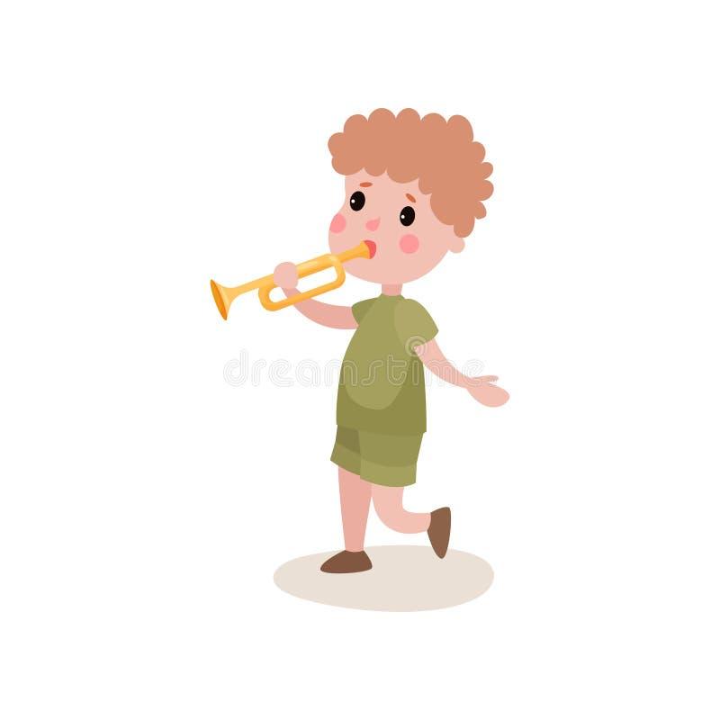 Carattere del boy scout del fumetto che cammina e che gioca sulla tromba, attività del campeggio estivo royalty illustrazione gratis