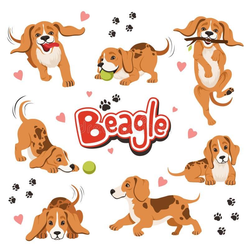 Carattere del cane divertente del movimento nelle pose dinamiche differenti Sedendosi e scuotendo animale domestico illustrazione di stock