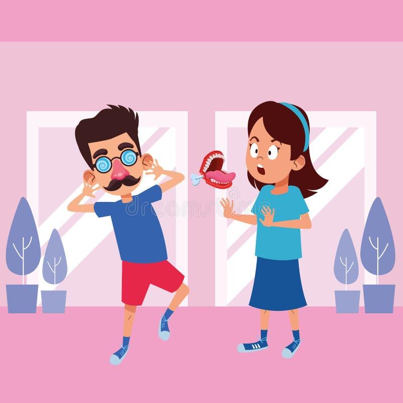Carattere del cartone dell'avatar dei ragazzini illustrazione di stock