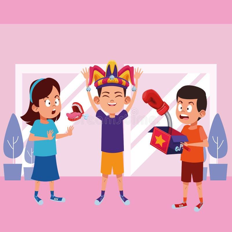 Carattere del cartone dell'avatar dei ragazzini illustrazione vettoriale