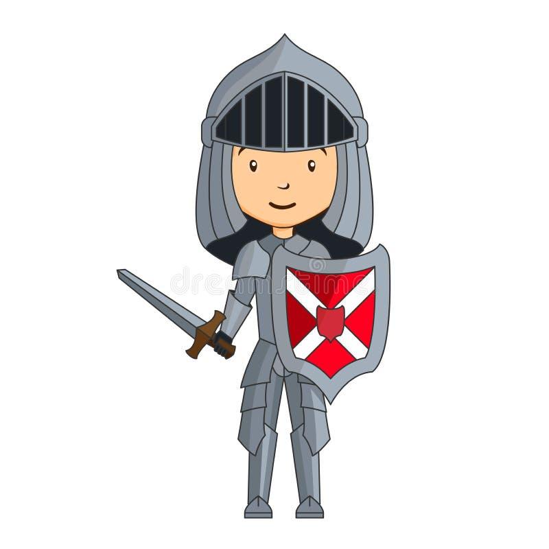 Carattere del cavaliere del fumetto illustrazione vettoriale