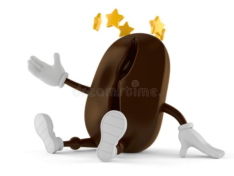 Carattere del chicco di caffè con le stelle intorno alla testa illustrazione di stock