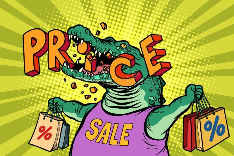 Carattere del coccodrillo di verde di vendita di prezzi di sconto illustrazione di stock