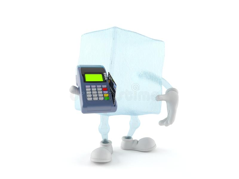 Carattere del cubetto di ghiaccio che tiene il lettore della carta di credito illustrazione di stock