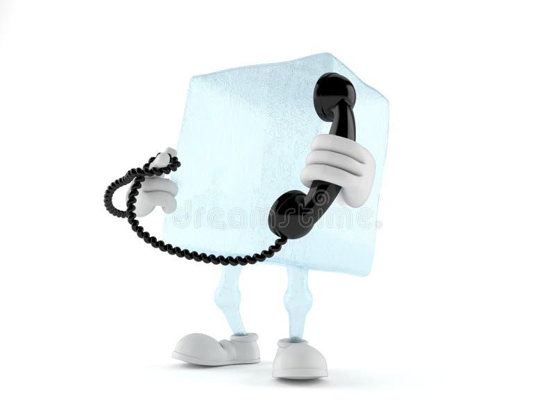 Carattere del cubetto di ghiaccio che tiene un telefono illustrazione vettoriale