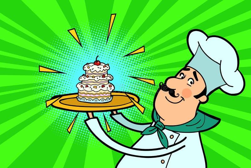 Carattere del cuoco del cuoco unico con il bigné illustrazione vettoriale
