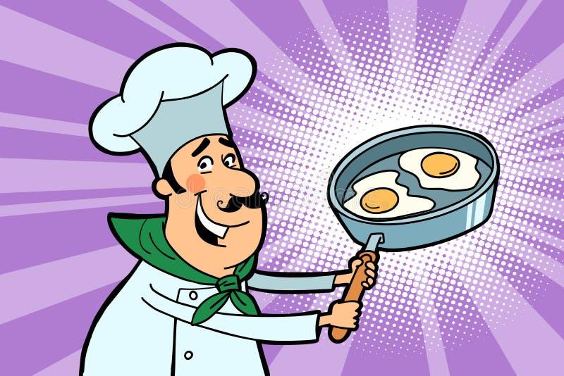 Carattere del cuoco del cuoco unico con le uova fritte illustrazione di stock