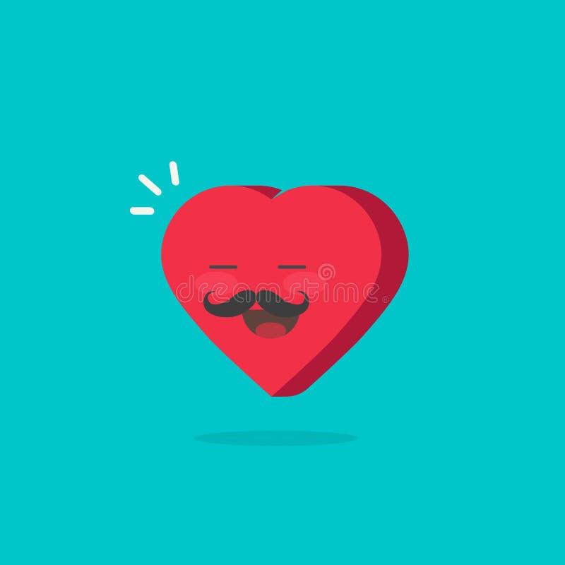Carattere del cuore con l'illustrazione felice di vettore del fronte, ragazzo romantico del cuore del fumetto piano con i baffi e illustrazione vettoriale