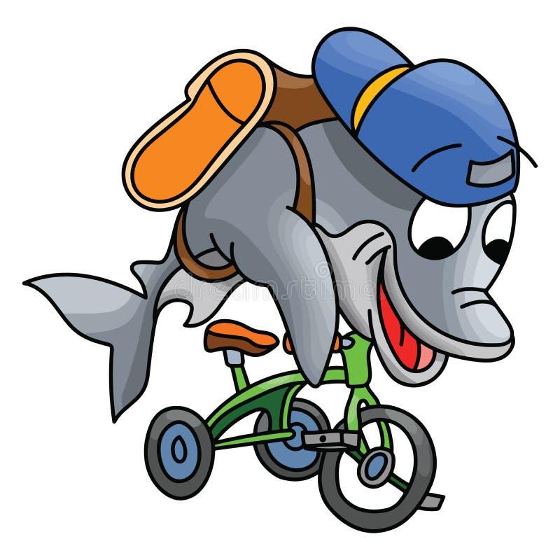 Carattere del delfino del fumetto che guida un triciclo che va a scuola vettore illustrazione di stock