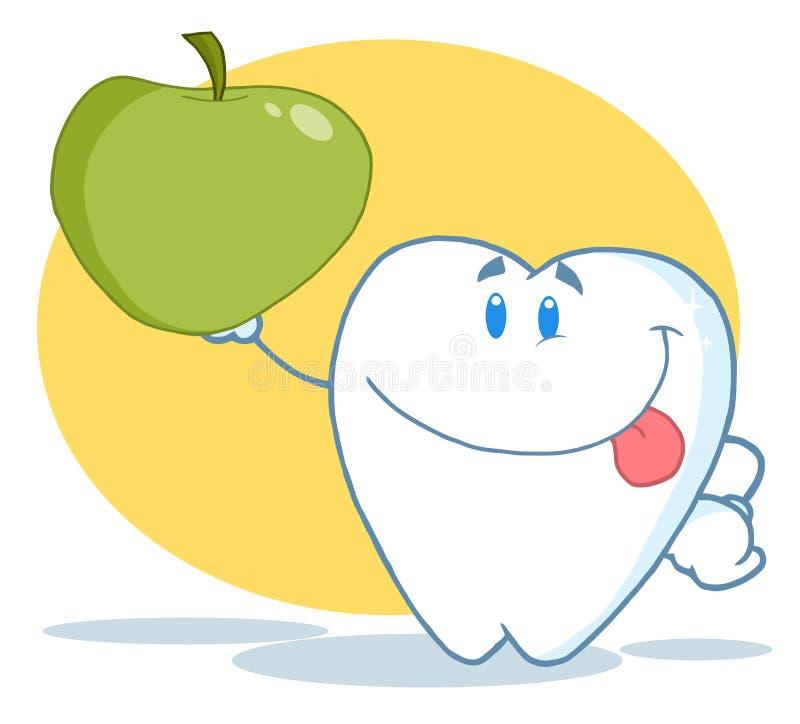 Carattere del dente che sostiene una mela verde illustrazione vettoriale