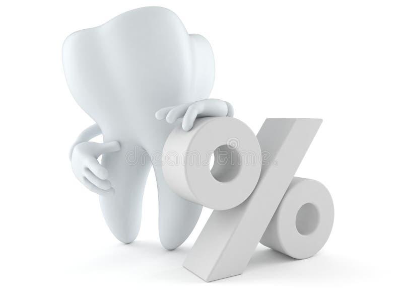Carattere del dente con il simbolo delle percentuali illustrazione di stock