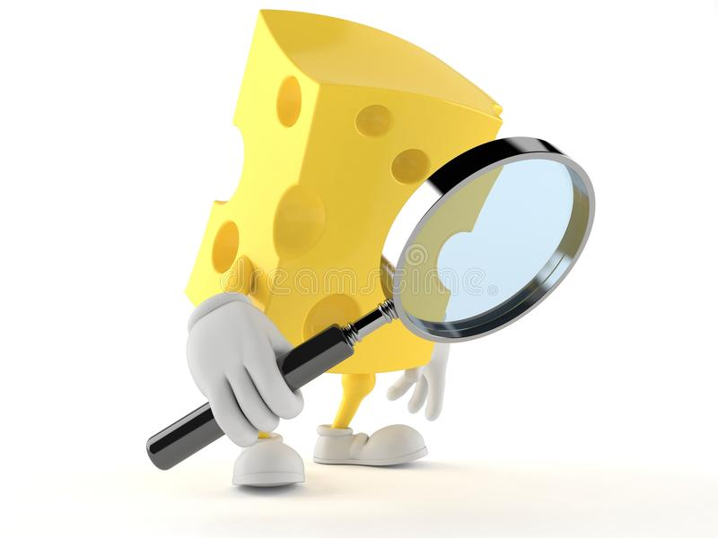 Carattere del formaggio che guarda tramite la lente d'ingrandimento illustrazione di stock