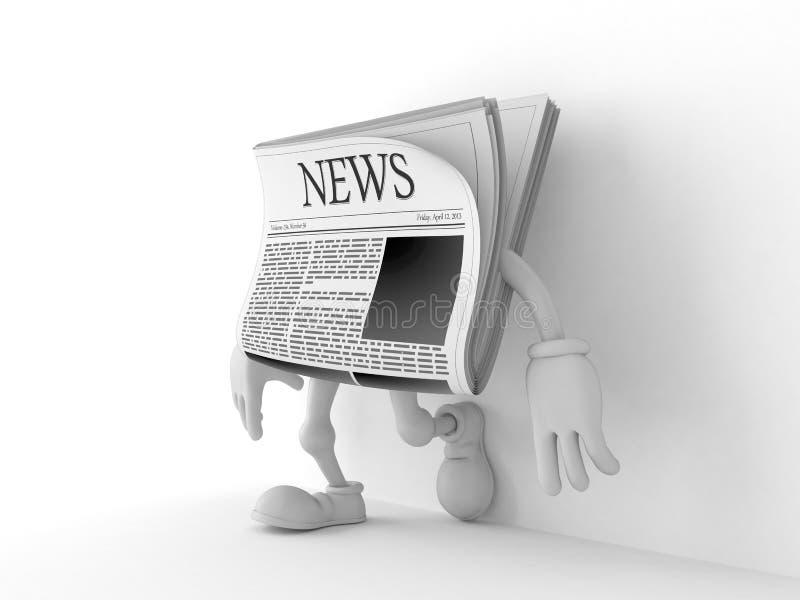 Carattere del giornale che si appoggia parete sul fondo bianco illustrazione di stock