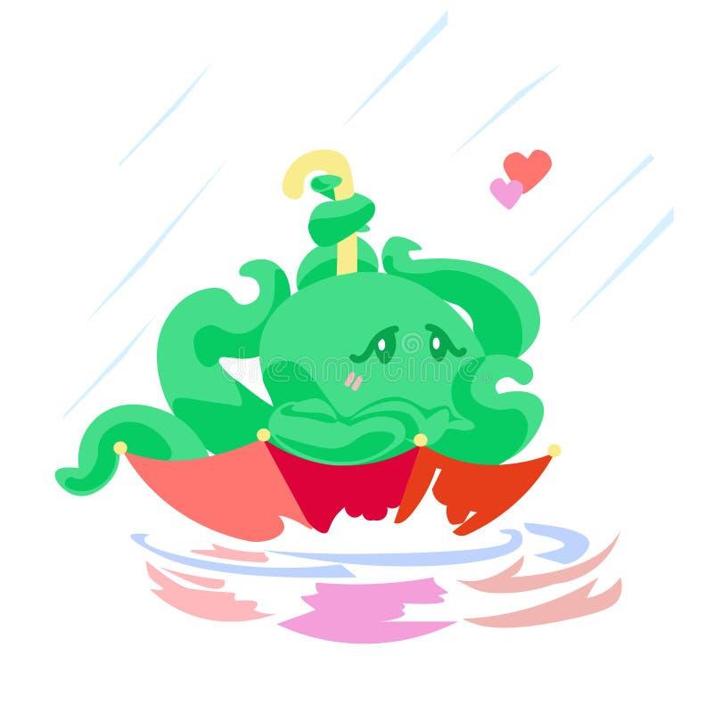 Carattere del polipo della carta del biglietto di S. Valentino sveglio del fumetto in ombrello nell'ambito dell'illustrazione ani royalty illustrazione gratis