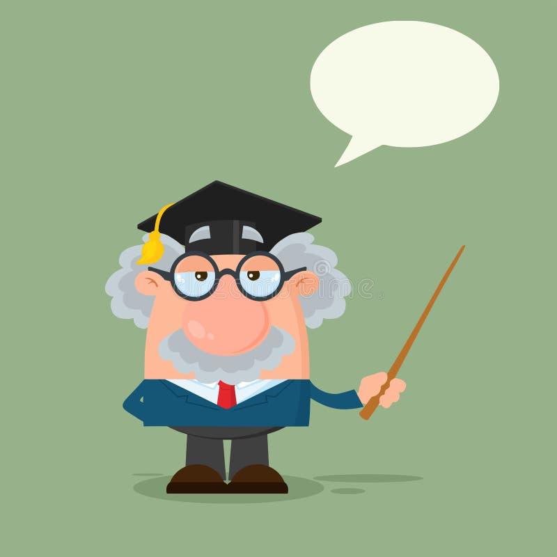 Carattere del professor Or Scientist Cartoon con il cappuccio laureato che tiene un puntatore royalty illustrazione gratis