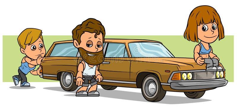 Carattere del ragazzo e della ragazza del fumetto con la retro automobile lunga royalty illustrazione gratis
