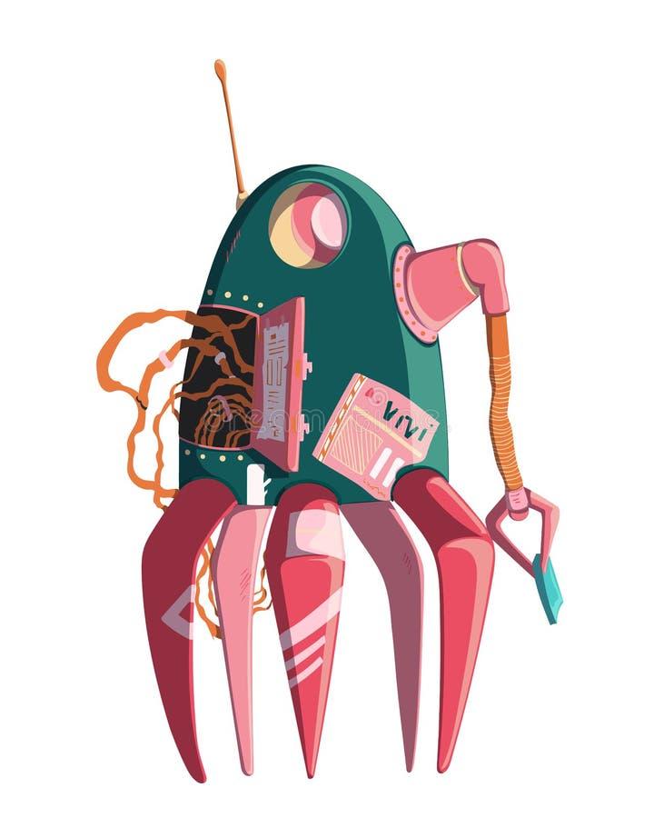 Carattere del robot del fumetto Tecnologia, futuro Concetto di progetto di intelligenza artificiale Isolato su priorit? bassa bia illustrazione vettoriale