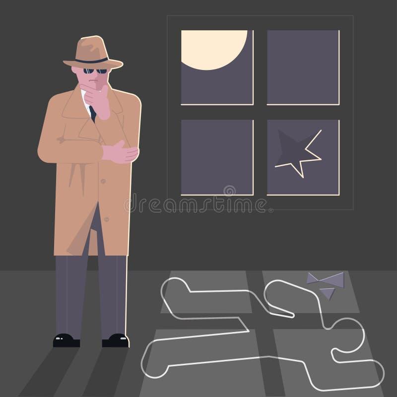 Carattere dell'agente investigativo alla scena del crimine illustrazione di stock