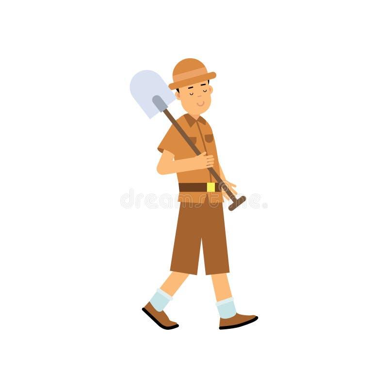 Carattere dell'archeologo del ragazzo che cammina con la pala illustrazione di stock