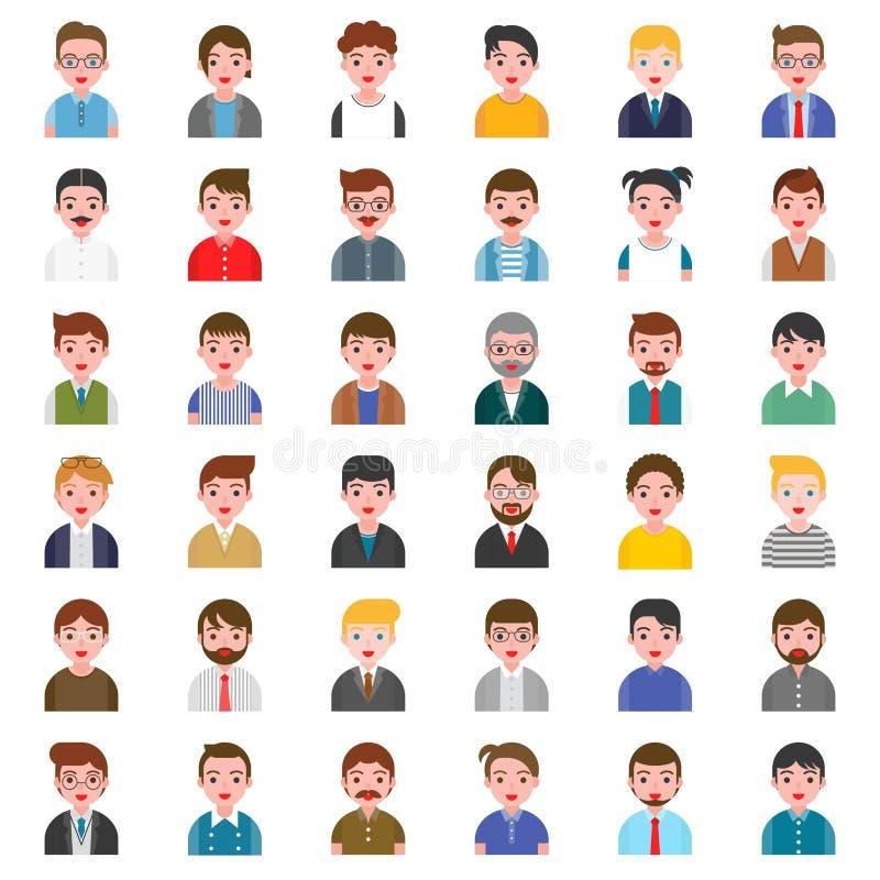 Carattere dell'avatar delle persone di sesso maschile di affari dell'ufficio nella progettazione piana illustrazione di stock