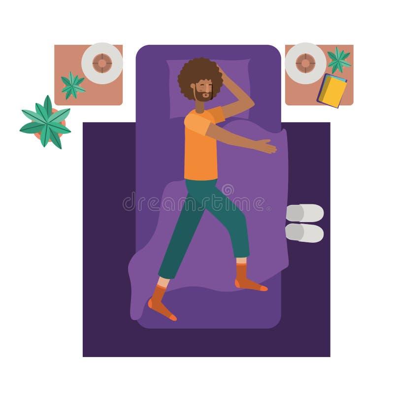 Carattere dell'avatar di afro del giovane a letto illustrazione di stock