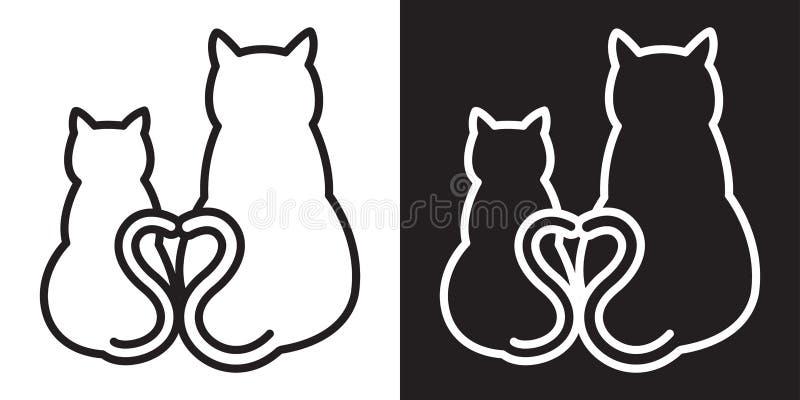 Carattere dell'illustrazione del biglietto di S. Valentino del cuore dell'icona del gattino di logo del gatto royalty illustrazione gratis