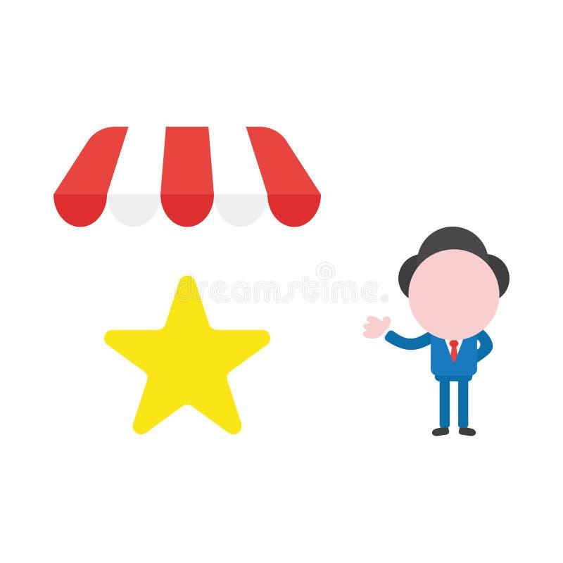 Carattere dell'uomo d'affari di vettore con la stella sotto la tenda del deposito del negozio illustrazione di stock