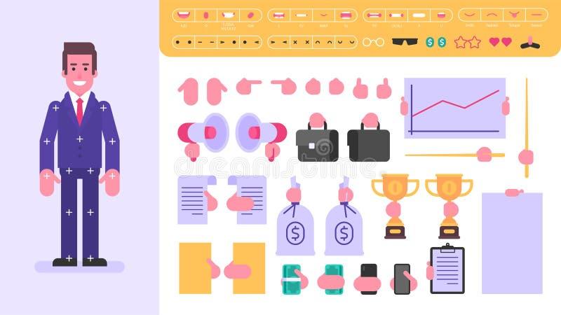 Carattere dell'uomo d'affari per l'animazione Insieme degli oggetti illustrazione vettoriale