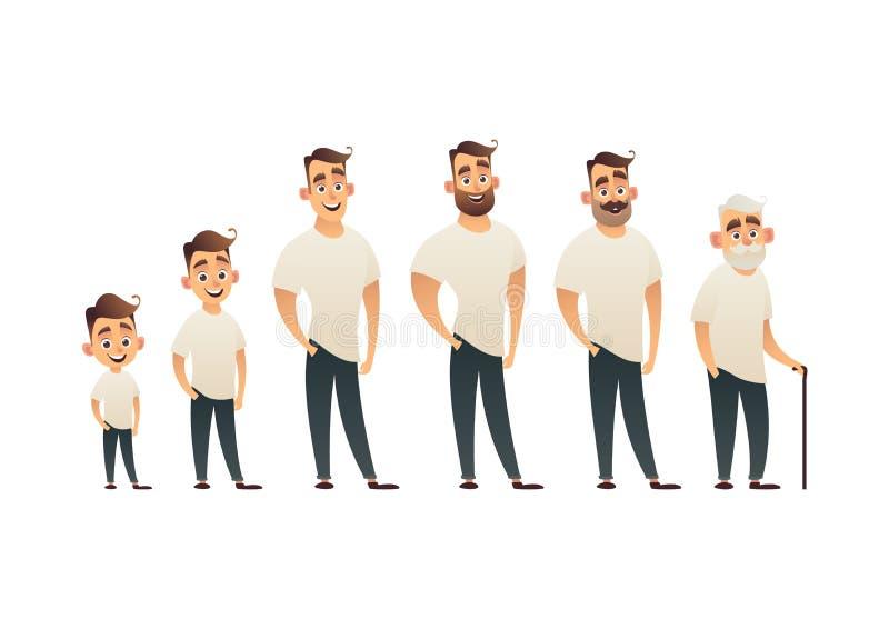 Carattere dell'uomo nella generazione anziana adulta del ciclo di vita della persona di età dell'adolescente differente del bambi royalty illustrazione gratis