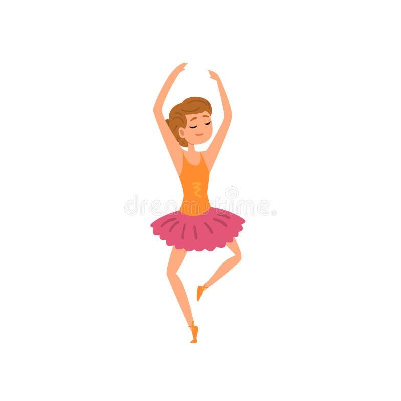 Carattere della ballerina nell'illustrazione rosa di vettore del fumetto di dancing del vestito dal tutu su un fondo bianco illustrazione di stock