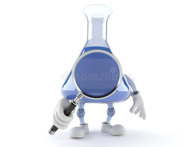 Carattere della boccetta di chimica che guarda tramite la lente d'ingrandimento illustrazione vettoriale