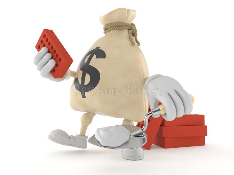 Carattere della borsa dei soldi del dollaro con la cazzuola ed i mattoni royalty illustrazione gratis
