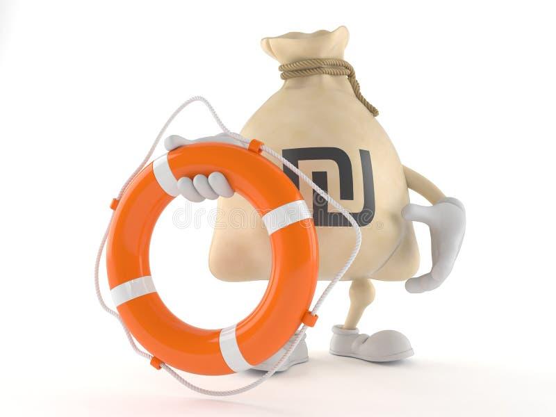 Carattere della borsa dei soldi dello shekel che giudica il salvagente isolato su fondo bianco illustrazione di stock