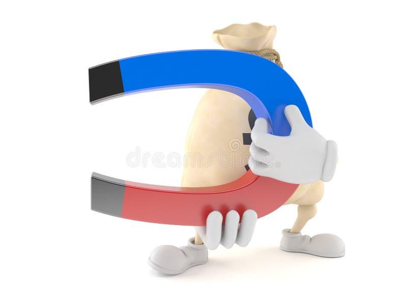 Carattere della borsa dei soldi della libbra che tiene magnete a ferro di cavallo illustrazione di stock