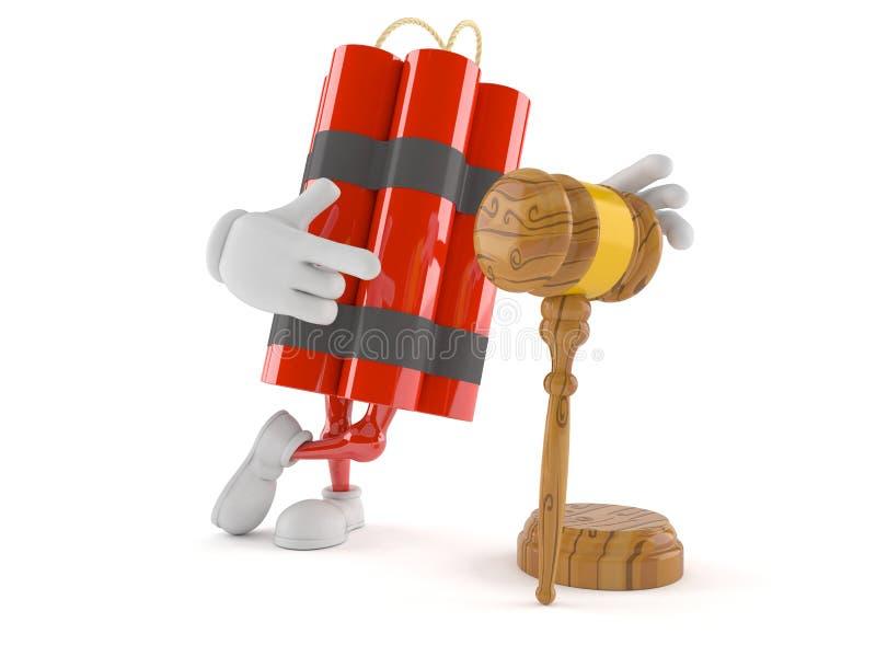 Carattere della dinamite con il martelletto royalty illustrazione gratis
