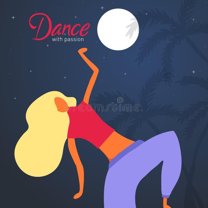 Carattere della donna che balla in uno stile piano moderno illustrazione vettoriale