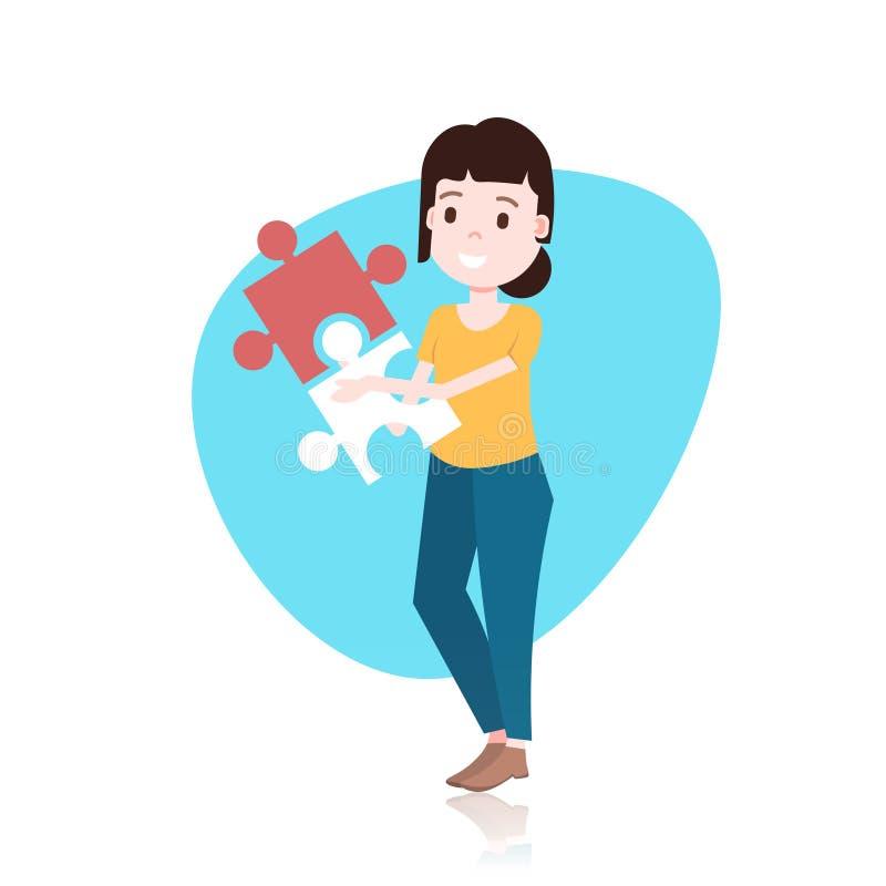 Carattere della donna che mette due pezzi del modello di puzzle per la progettazione o l'animazione sopra il piano integrale del  illustrazione vettoriale