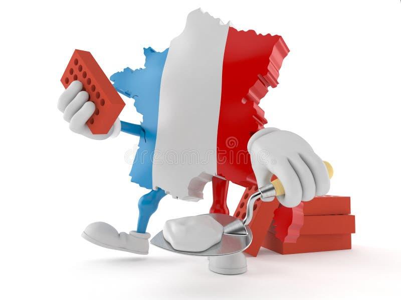 Carattere della Francia con la cazzuola ed i mattoni illustrazione vettoriale