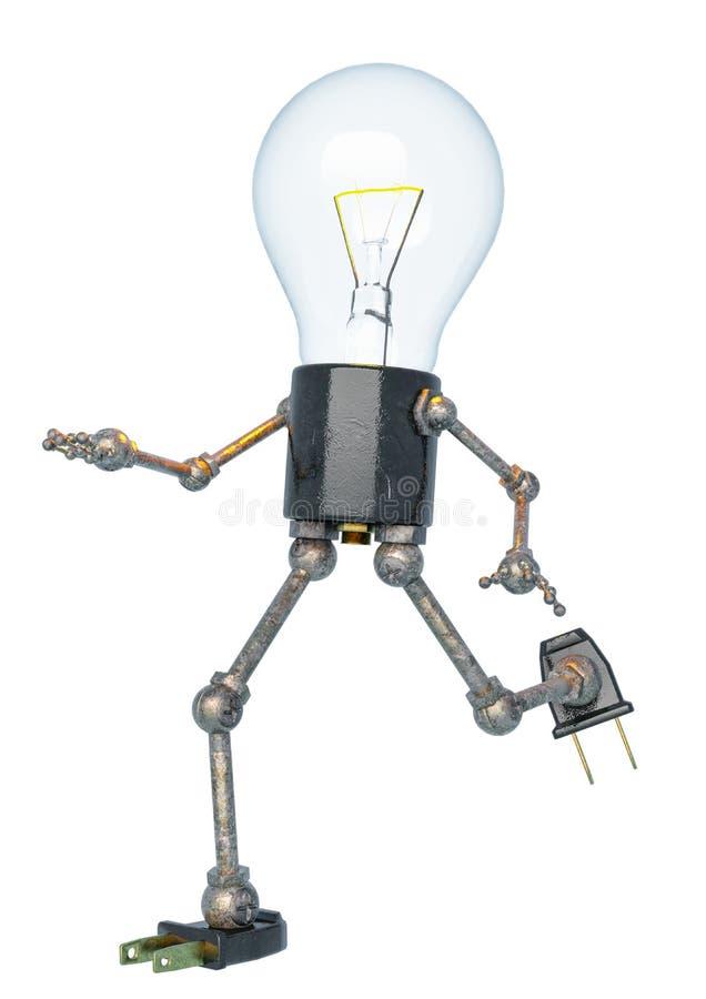 Carattere della luce di lampadina che corre in un bacground bianco illustrazione vettoriale