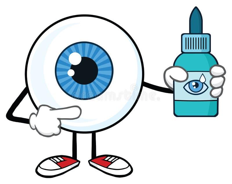 Carattere della mascotte del fumetto del bulbo oculare che tiene una bottiglia della plastica dei collirii illustrazione di stock